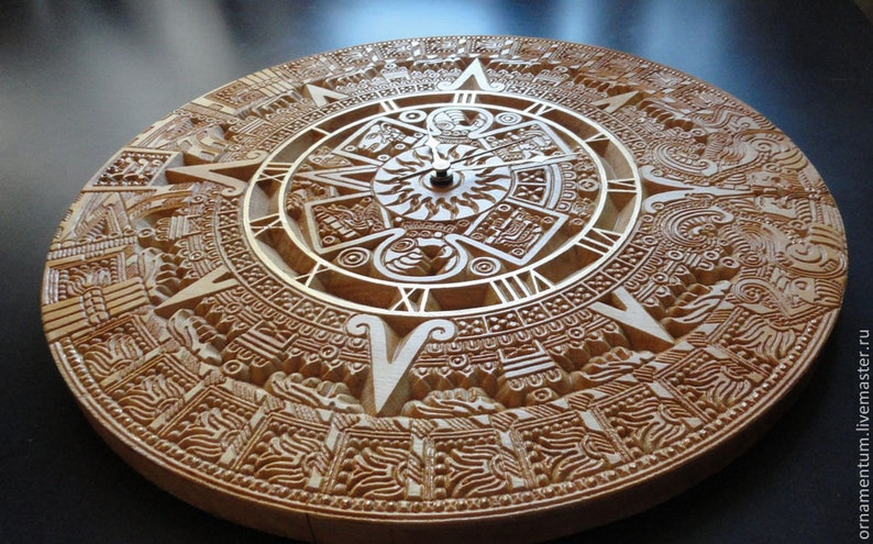 Aztec Calendar Stone Clock Wood Ornamental Hand Carving