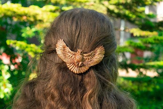 wooden bird hair clip american bald eagle,wooden barrette,long hair clip bun holder,wildlife hand carved wood bird hair clip