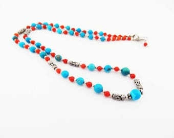 Mother Day Gift, Ruby and Turquoise Necklace, Light Necklace, July Birthstone Necklace, Multi Gem Necklace