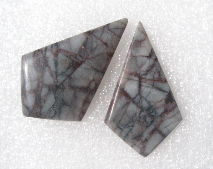 Picasso Marble matched long kite shaped earring cabochons