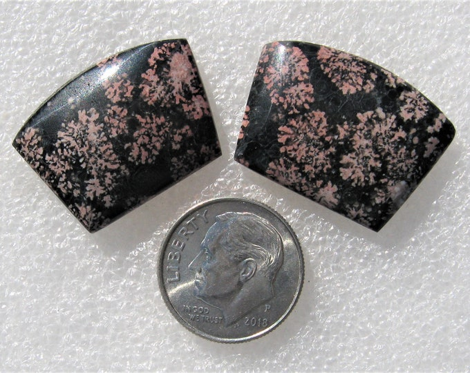 Flower Obsidian matched earring cabochons.