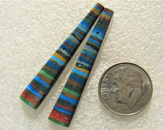 Rainbow Calsilica long matched earring cabochons