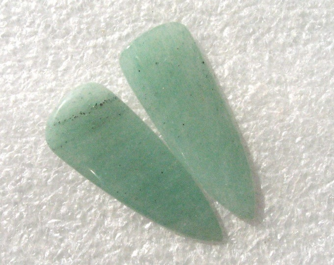 One long pair of Aventurine cabochons for earrings
