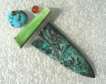Sonora Sunrise/Cuprite Jasper, Gaspeite, Turquoise,  and Carnelian  Group