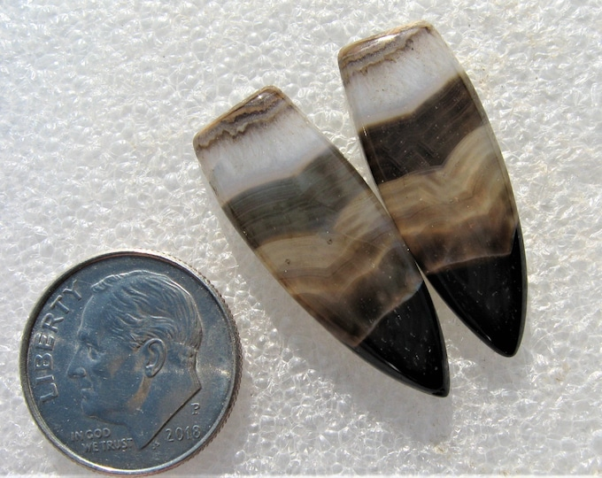 Banded Agate earring cabochons