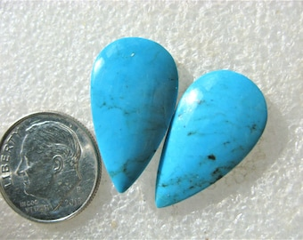 Turquoise earring cabochon pair