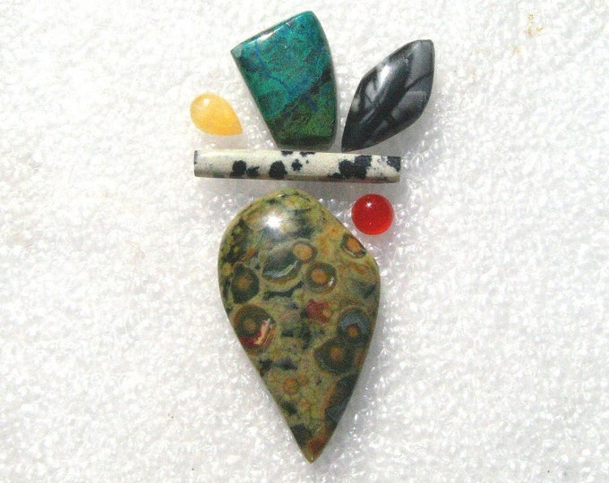 Six cab group with Rain Forest Jasper, Parrot Wing Jasper, and Picasso Jasper