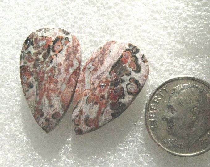 One pair of Leopard Skin jasper long cabochons for earrings