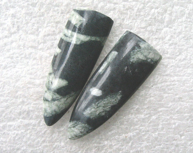 Chinese Writing Stone earring cabochons
