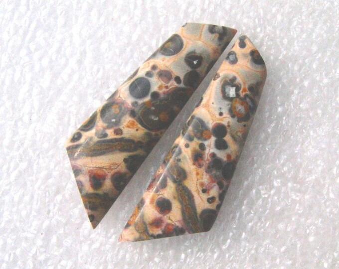 Leopard Skin jasper long cabochons for earrings