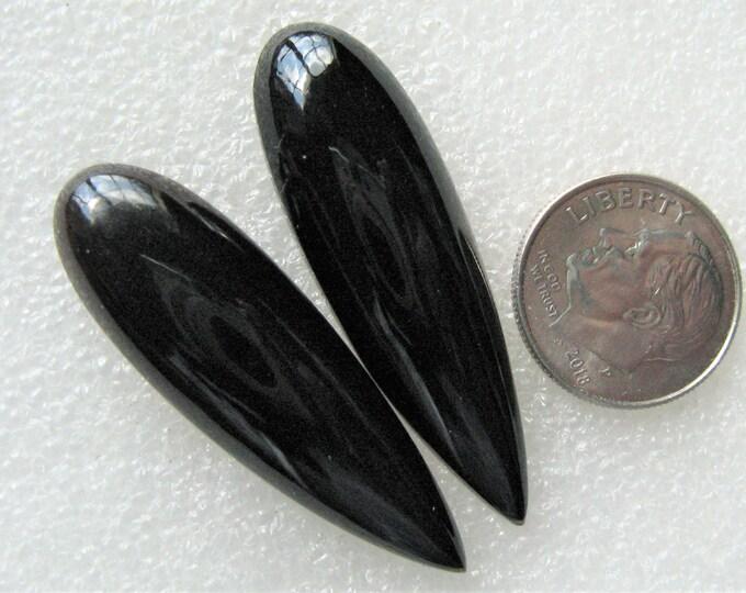 Long Black Onyx cabochons for earrings