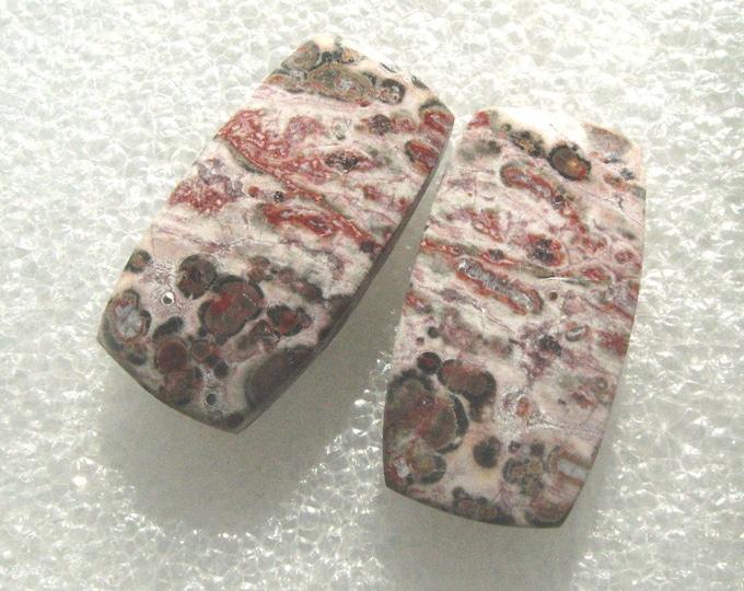 One pair of Leopard Skin jasper long cabochons for earrings
