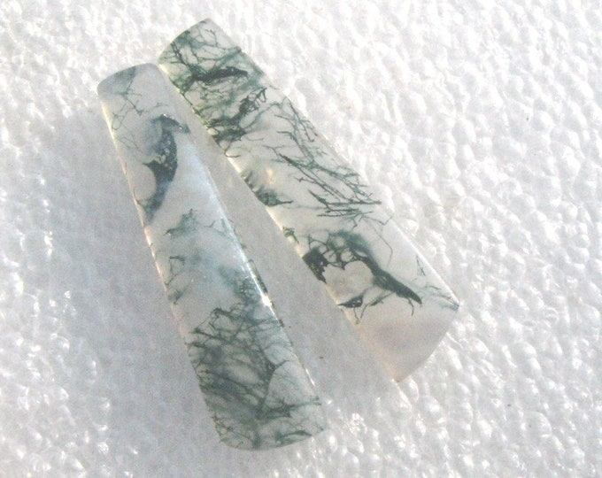 Moss agate matched earring cabochons