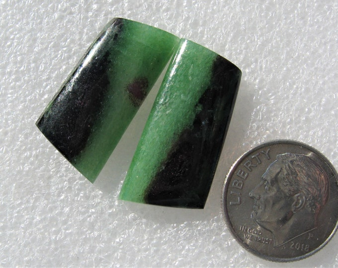 Ruby in Zoisite earring cabochons
