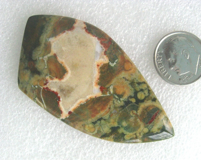 Large and colorful Rain Forest Jasper cabochon