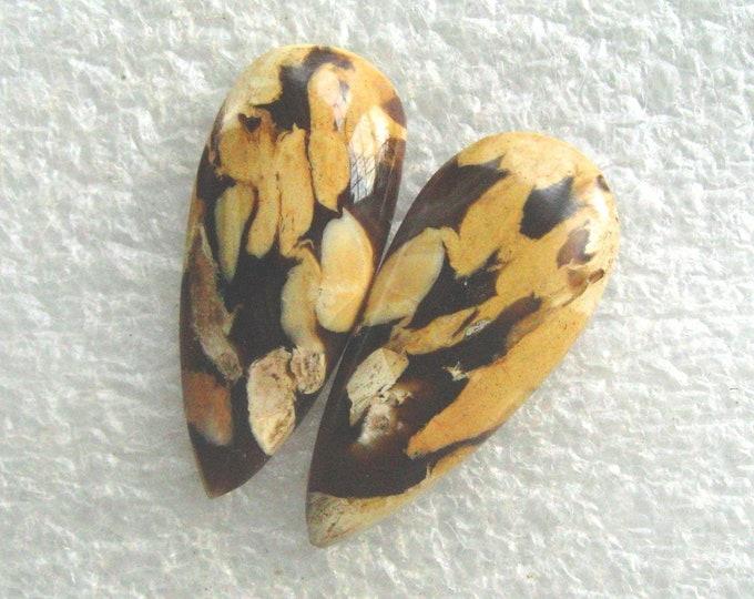 Peanut Wood jasper matched earring cabochons for earrings