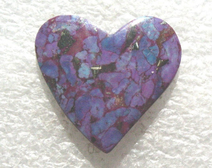 Magenta Turquoise heart cabochon