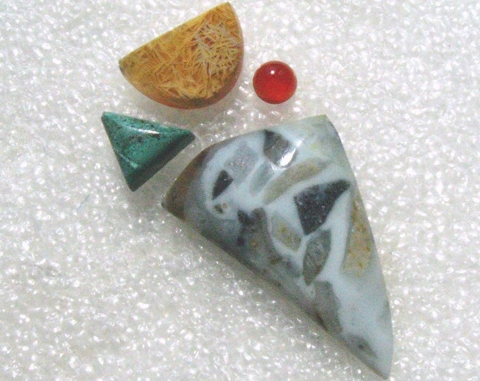Cab Group with Blue Ice Agate, Amber, Chrysocola, and Carnelian