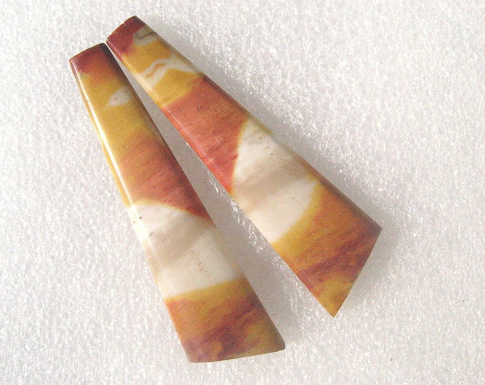 Designer cut matching Mookaite long earring pair