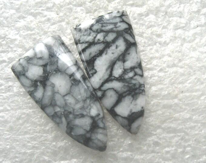 Pinolith jasper long earring cabochon pair