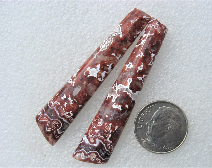Red Crazy Lace Agate long earring cabochons