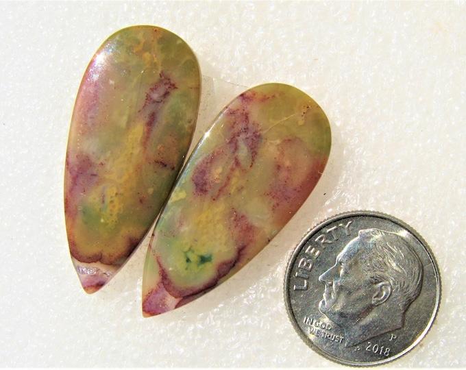 Bloodstone long earring cabochons