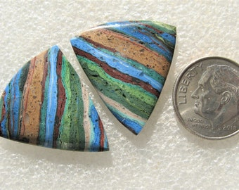 Rainbow Calsilica matched earring cabochons