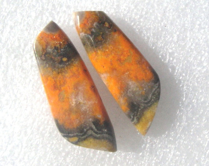 Bumble Bee jasper matched cabochon pair
