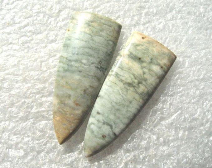 Serpentine long earring cabochons