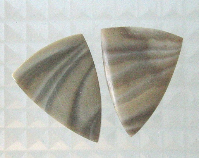 Polish Flint designer cut earring cabs