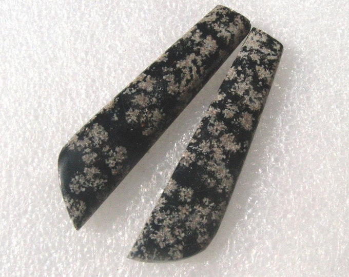 Long Flower Obsidian matched earring cabochons.