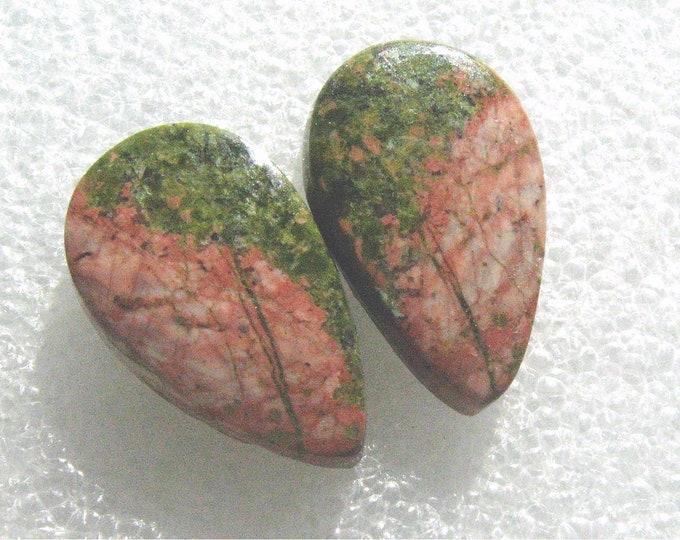 Unakite jasper earring cabochons