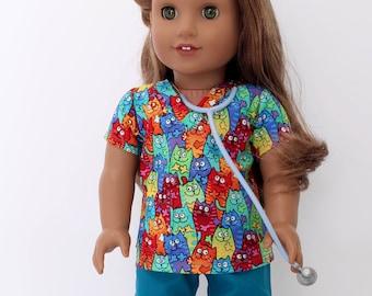 18 inch girl doll clothes -  Cute cat Vet scrubs