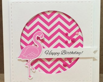 Happy birthday card in pink and white