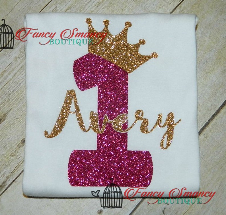 ba405ba0ba8b Girls Personalized Birthday Shirt Name Number Glitter Tiara