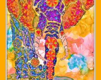 Colourful abstract elephant painting. Blank original hand painted greetings art card. Wall art framed print. A4, A3. Alcohol ink artwork.