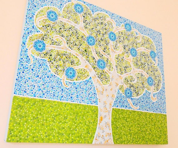Mandala Canvas Wall Art Painting Tree Of Life Original Etsy