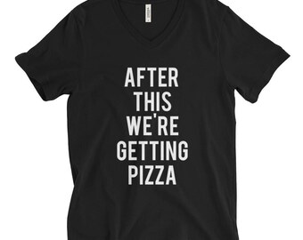 "RESERVED: 7 Bridesmaid T-shirts ""After This We're Getting Pizza"" Black Shirt - Bridal Party Getting Ready Outfit - Bride robe"