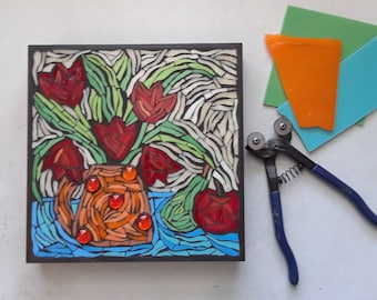 Folk Art Wall Hanging 10x10 inches Glass on Wood Panel Original Artwork Red Tulips in an Orange Vase Apple and Pear Mosaic Wall Art