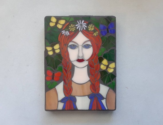 Folk Art Anne with an E Mosaic Wall Art About 6x8 inches Wall Hanging Fan Art Stained Glass on Wood Panel Original Artwork