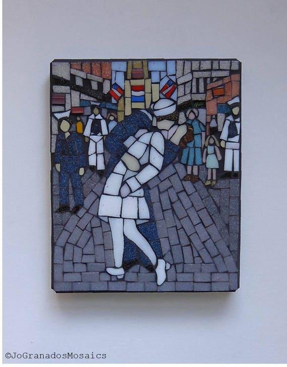 V-J Day Kiss Mosaic Wall Art Glass Mosaic on Wood Panel   Etsy