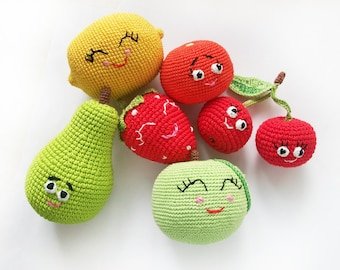 Eco vegan toys for baby, set of 6 varicolored Happy crochet fruit /soft toy /kitchen decor / with love