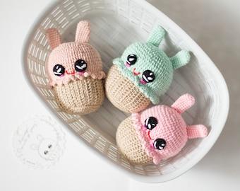 Pink Easter bunny crochet Baby toy / Kawai cupcakes / Amigirumi Play Food Soft Toy /Plush Cake /Nursery decoor