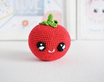Red tomato /Crochet baby toy /Soft eco-friendly toy/ Pluch Amigurumi vegetable /kawai crochet food For kid's room decor