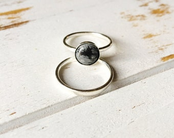 Snowflake Obsidian Ring, Sterling Silver Ring, Snowflake Obsidian, Balance Emotions Ring, Gemstone Ring, Intention Ring, Gemstone Jewelry