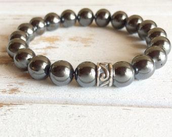Genuine Hematite Bracelet, 4mm Hematite Bracelet, 6mm Hematite Bracelet, 8mm Hematite Bracelet, Grounding Bracelet, Beaded Bracelet