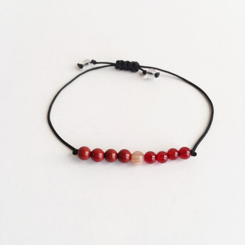 Red Jasper Friendship Bracelet Sunstone Chakra diffuser Bracelet Sacral Chakra ~ Choose a String Color ~ Carnelian