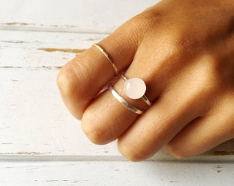 Rose Quartz Ring, Sterling Silver Ring, Rose Quartz Ring Set, Balance Emotions Ring, Gemstone Ring, Intention Ring, Gemstone Jewelry