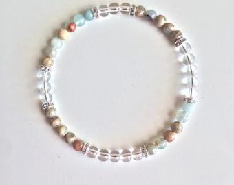Meditation & Inner Peace, Crystal Quartz Bracelet Gemstone Bracelet Aqua Terra Jasper Jewelry Crystal Bracelet Clear Quartz 4mm Bracelet