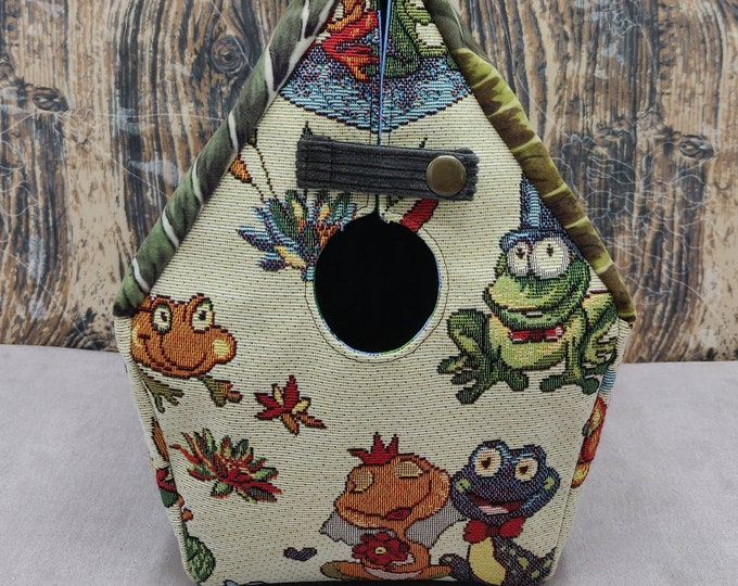Frog themed Birdhouse Project bag for knitters or crocheters, fully lined, Birdhouse shaped knitting bag